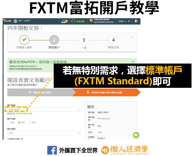 FXTM富拓開戶教學-帳戶類型
