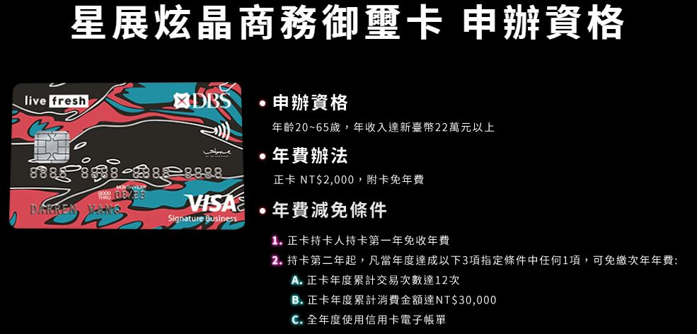 星展炫晶御璽卡申辦條件