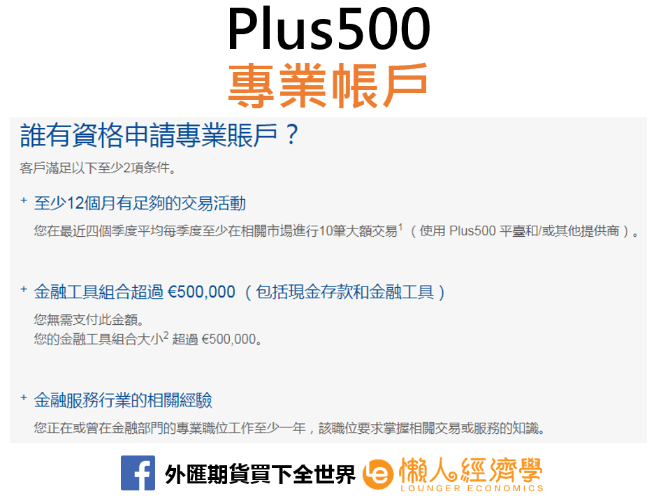 Plus500專業帳戶