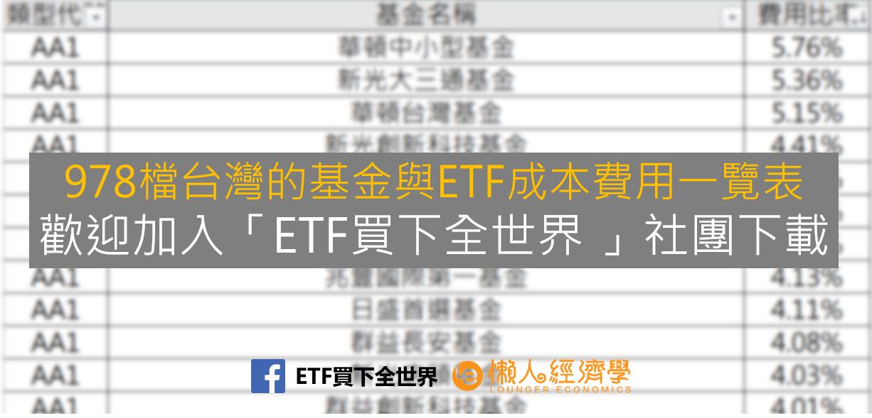 台灣基金與ETF成本費用一覽表檔案