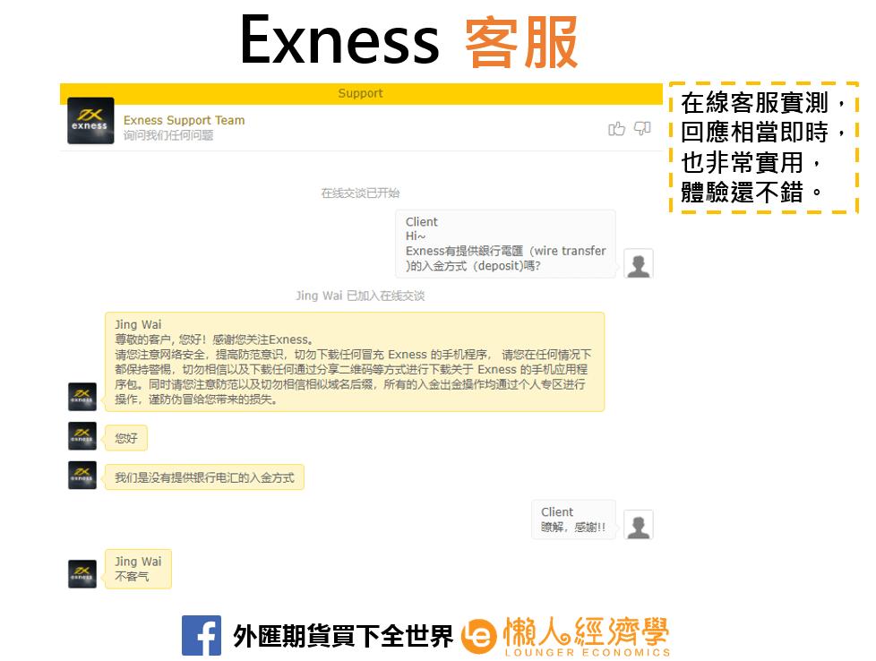 Exness 在線客服