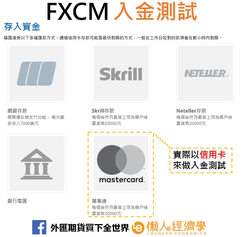 FXCM入金實測
