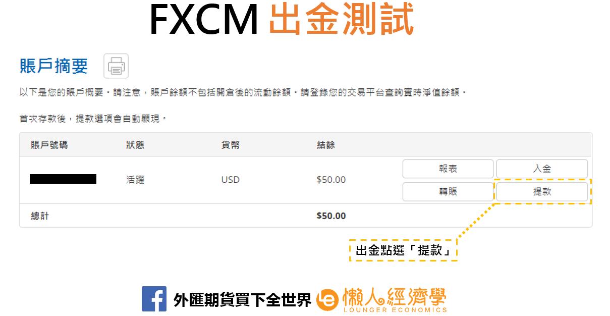 FXCM出金實測