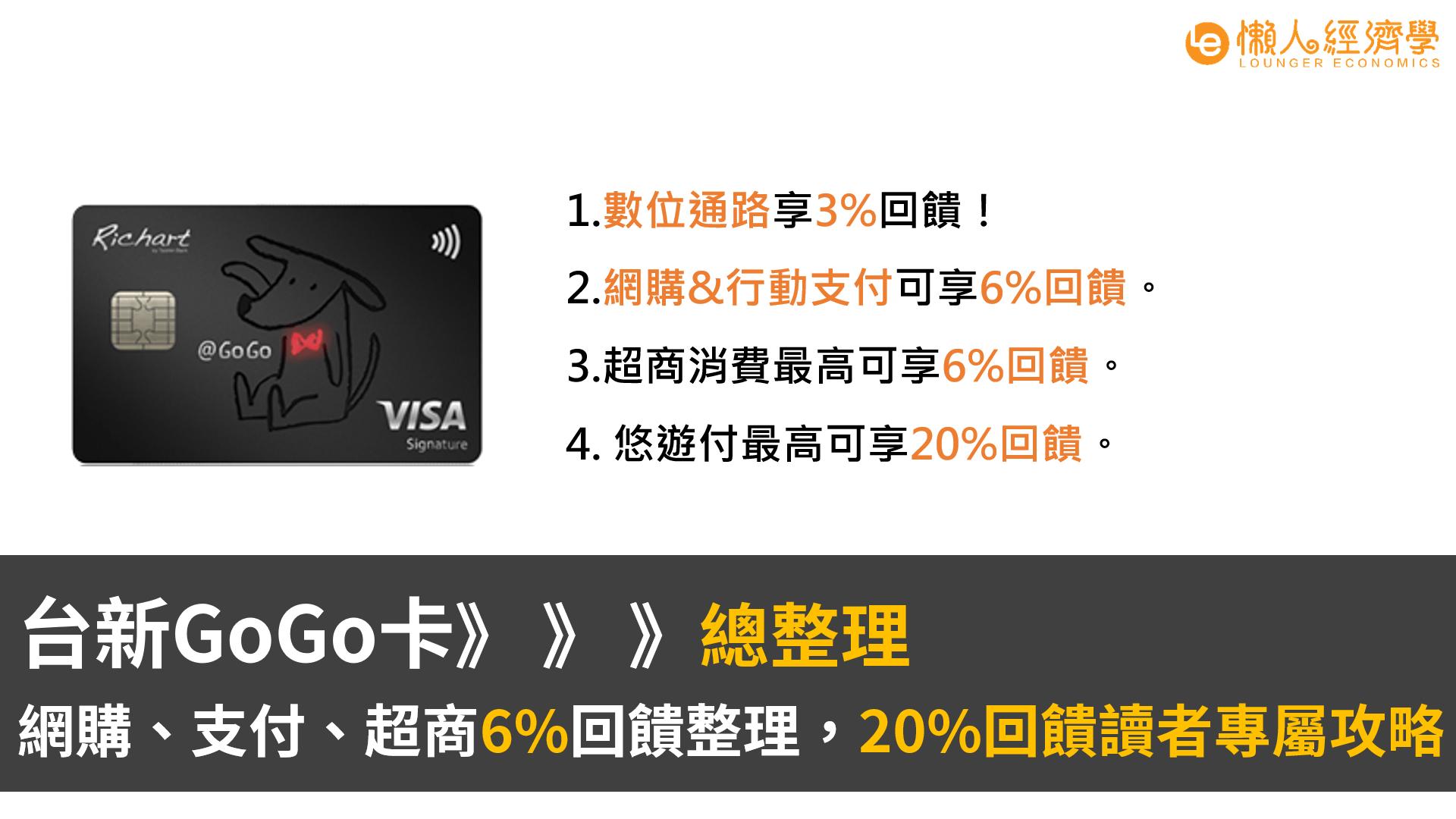 台新GoGo卡:網購、支付、超商6%回饋整理,20%回饋讀者專屬攻略