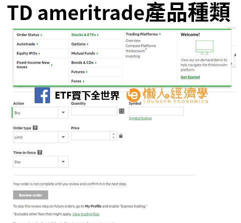 TD ameritrade產品種類