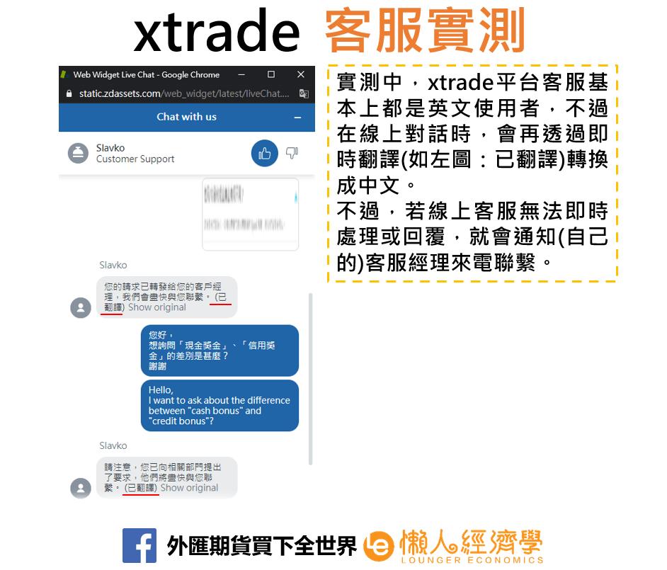 xtrade客服實測