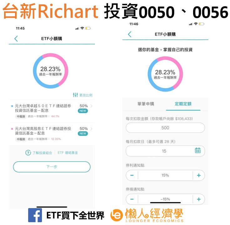 數位帳戶台新 Richart定期定額ETF