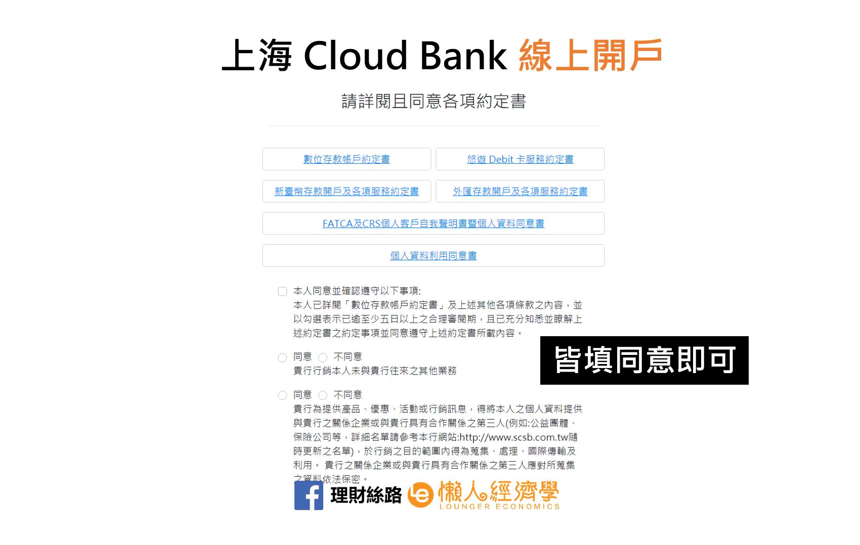 上海Cloud Bank同意條款