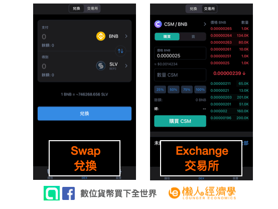 Trust Wallet 去中心化交易:Swap 與 Exchange 的介面比較