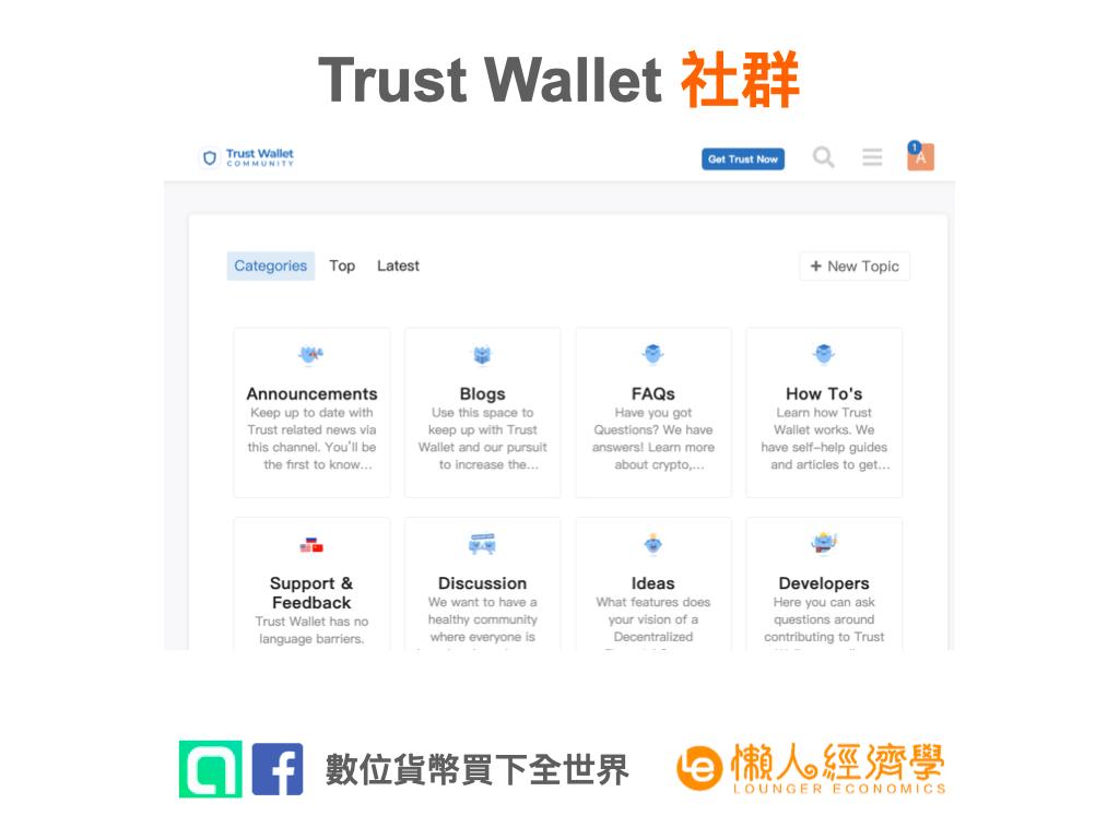 Trust Wallet 去中心化交易:Trust Wallet 社群介面