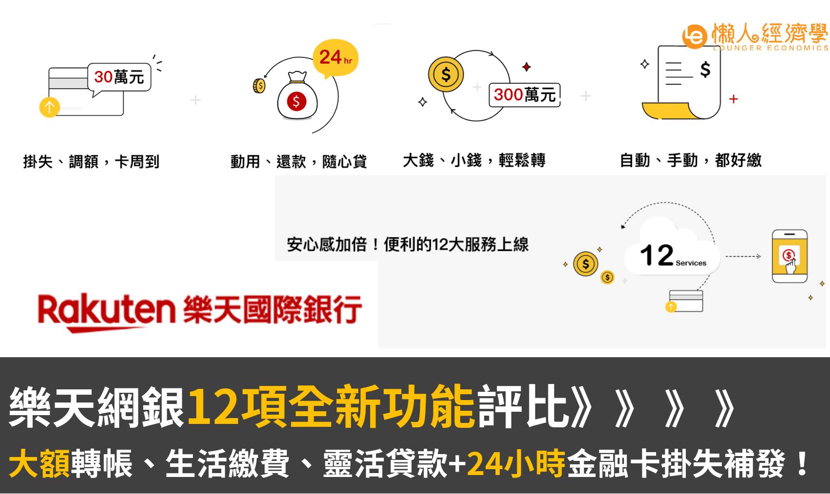 直球對決Line Bank!樂天銀行12項全新功能評比:大額轉帳、24小時金融卡掛失補發!