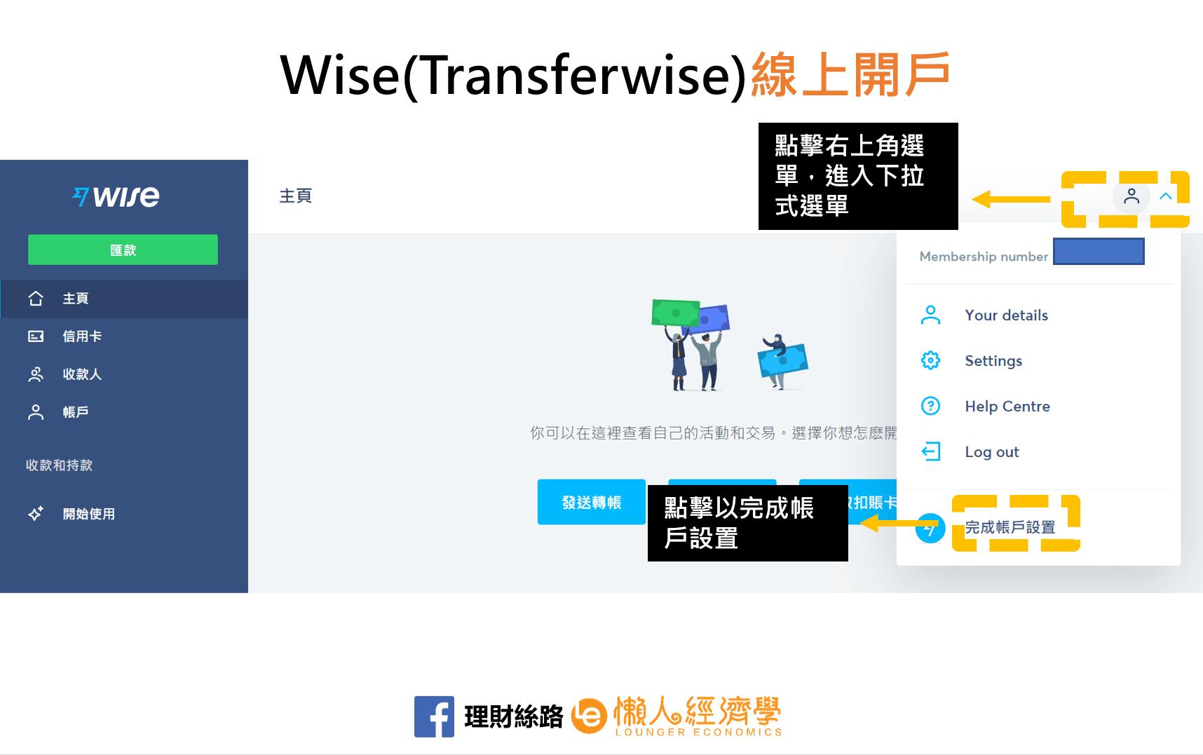 WISE完成帳戶設置