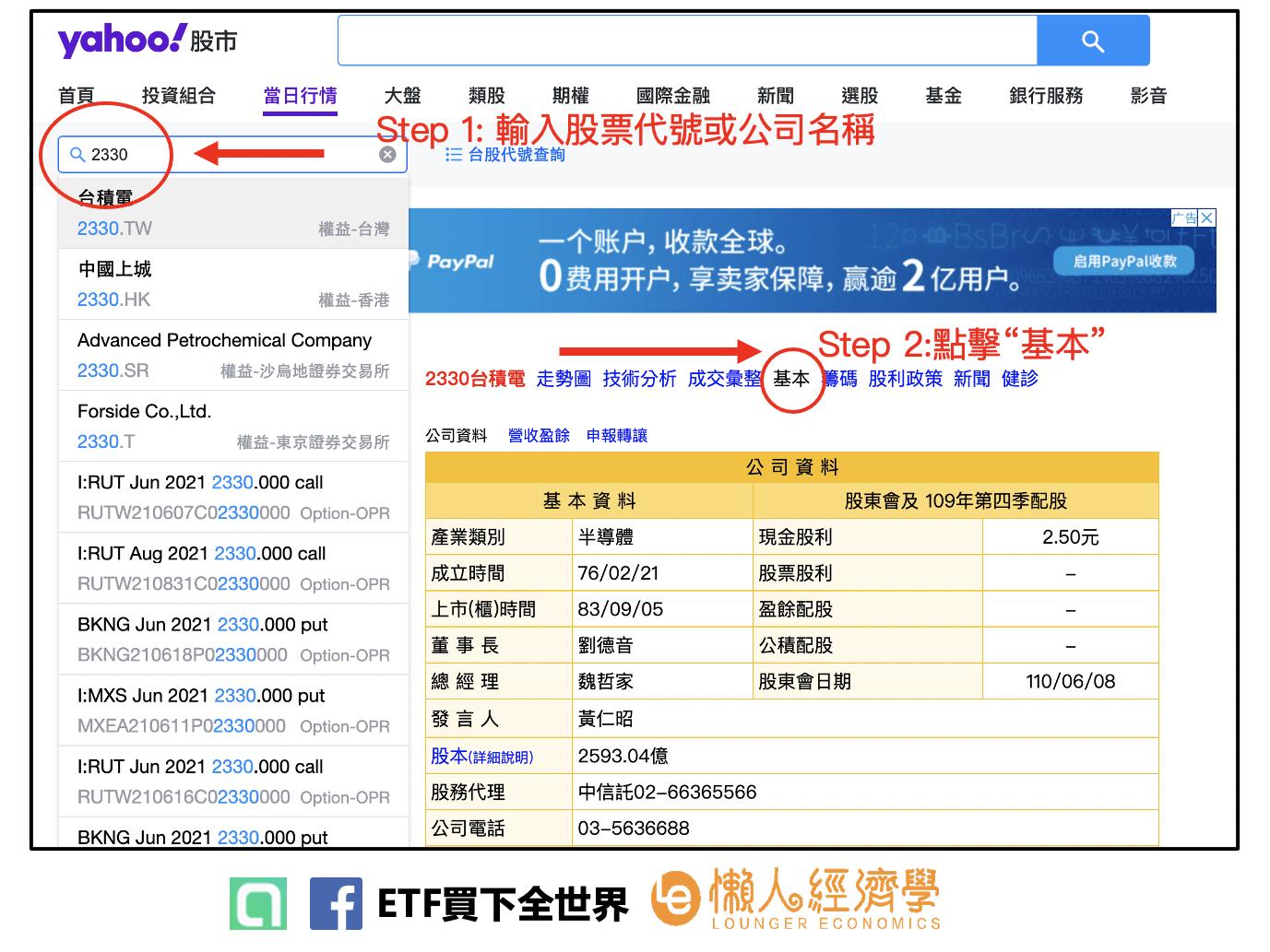 可以到Yahoo 股市,輸入你想搜尋的股票代號,以台積電2330為例