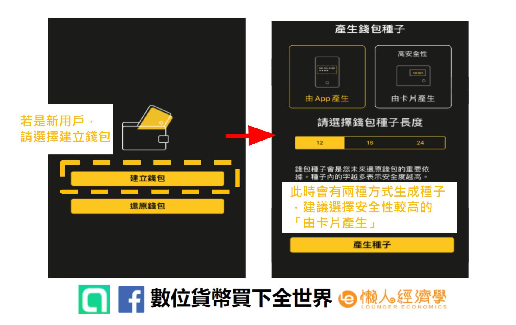 創建CoolWallet錢包,若是新用戶請點擊「創建錢包」,再選擇生成錢包種子的方式