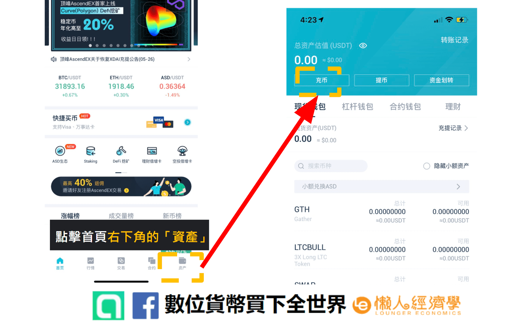 AscendEX錢包入金教學:點擊AscendEX app首頁右下方的「資產」,進入充幣頁面