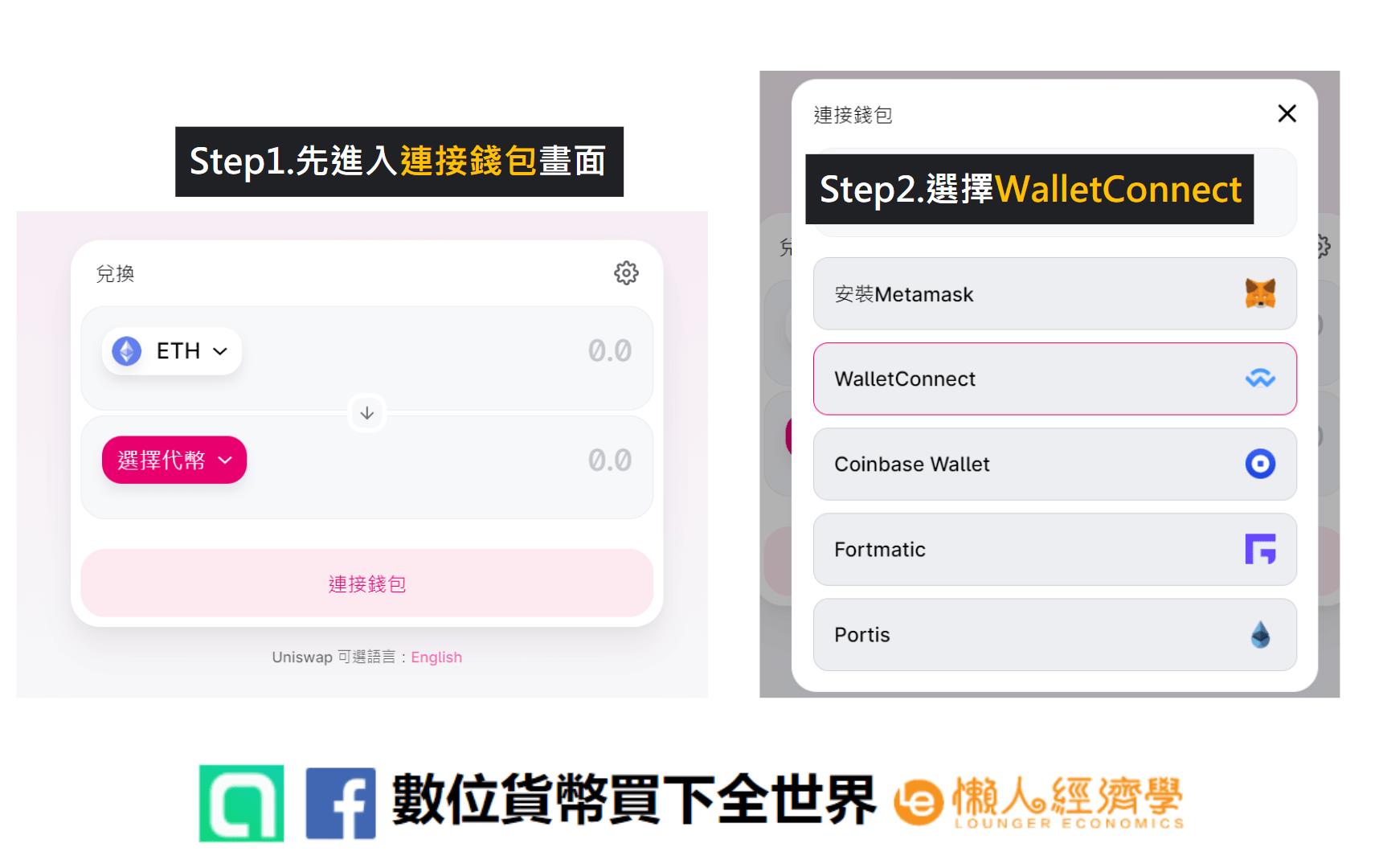 CoolWallet Pro的WalletConnect教學:先打開交易所連接錢包地址畫面,再選擇WalletConnect