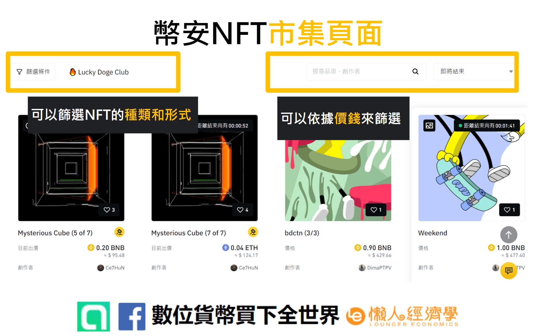幣安NFT 市集頁面介紹