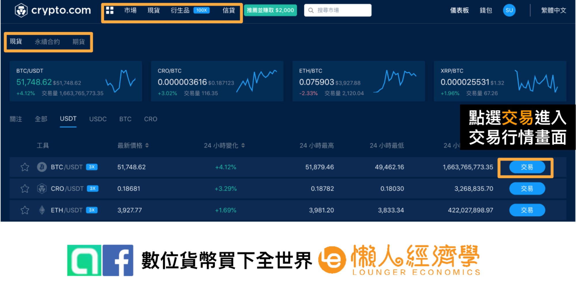 Crypto.com交易所頁面操作介紹1
